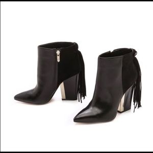Sam Edelman black fringe booties